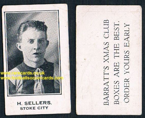1927 H Sellers Stoke City LARGE LETTERING Barratt's Xmas Boxes card